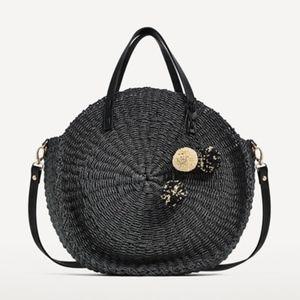 Zara Braided Tote Bag With Pom Poms